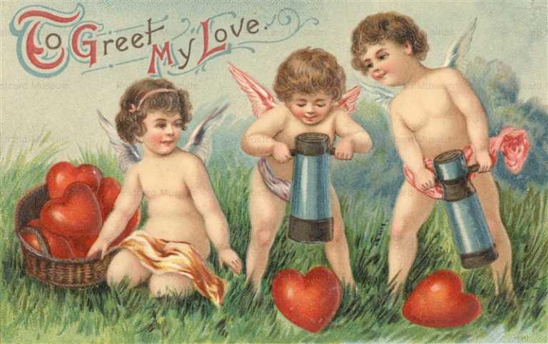 v220-To Greet My Love Three Cupid Heart
