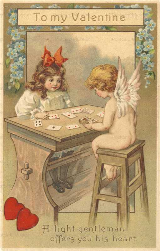 v265-Valentine Girl & Cupid Playing Cards Heart E H Clapsaddle