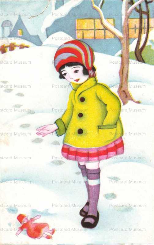 w619-少女と人形 雪風景