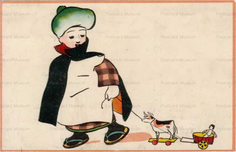 w677-馬と人形を引く男の子