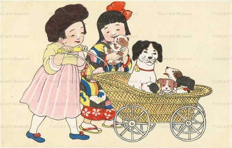w710-子犬の乳母車と女の子