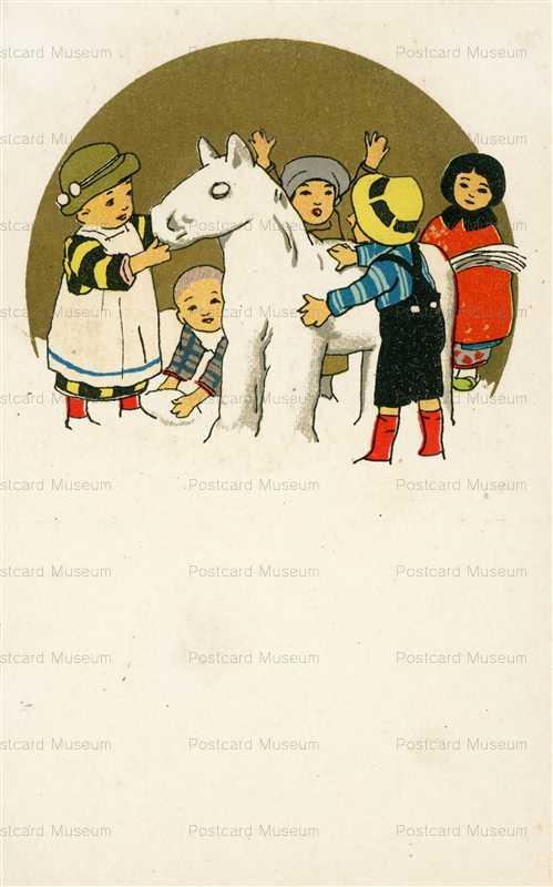 w715-雪ダルマのお馬 子供達