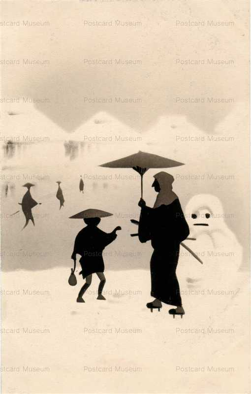 wg014-雪だるま シルエット