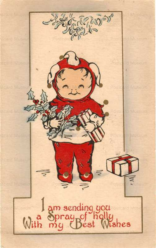 xm025-Cute Kids Old Christmas Postcard