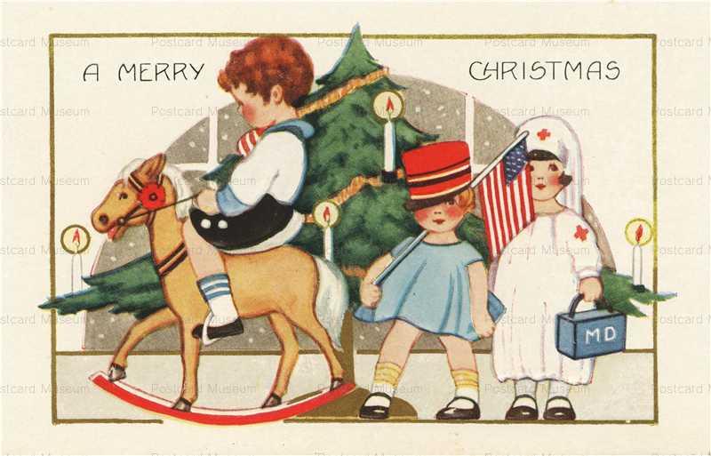xm110-Merry Christmas Rocking Horse