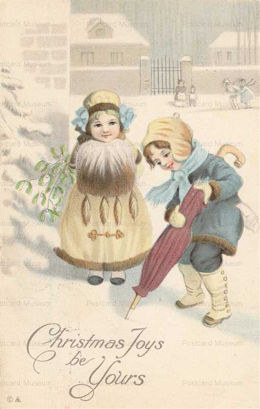xm120-Christmas Two Adorable Little Girls Walking in the Snow