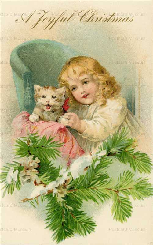 xm200-Christmas Child with White Kitten Embossed