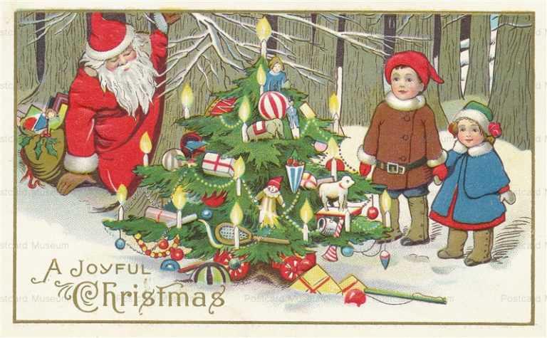 xm415-Christmas Santa Children Woods Tree Toys