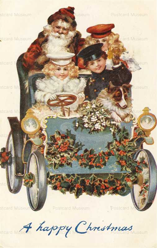 xm430-Santa & Children in Early Car Tuck