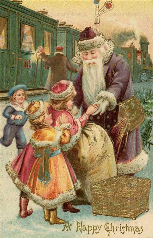 xm440-Early Tucks Brown Robed Father Christmas Santa Claus Railway Locomotive