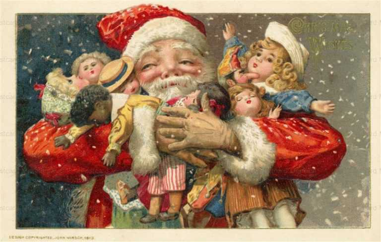xm450-Christmas Santa hold Many Dolls John Winsch