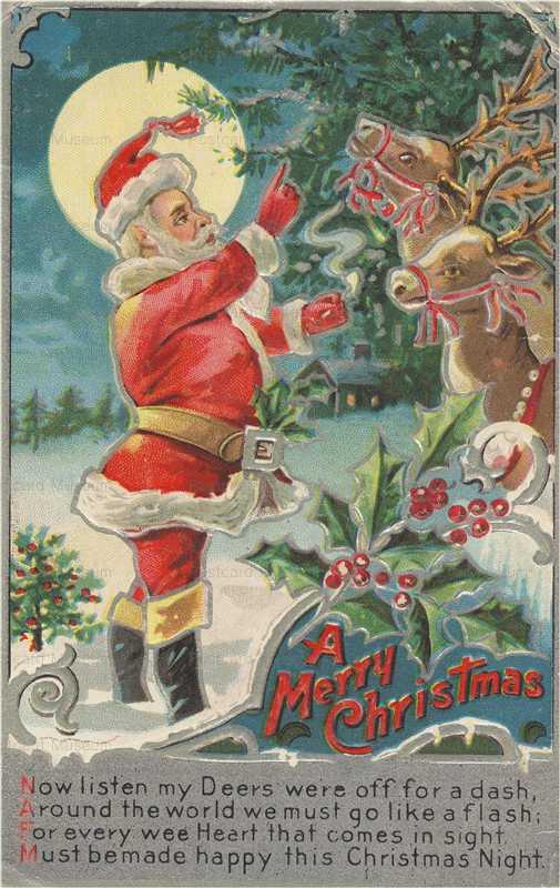 xm470-Merry Xmas Santa Deers
