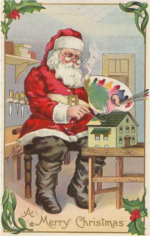 xm500-Christmas Santa Paints Dollhouse & Smokes Pipe