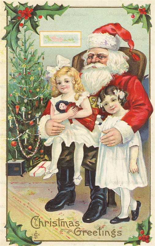 xm502-Santa Claus with Girls Doll