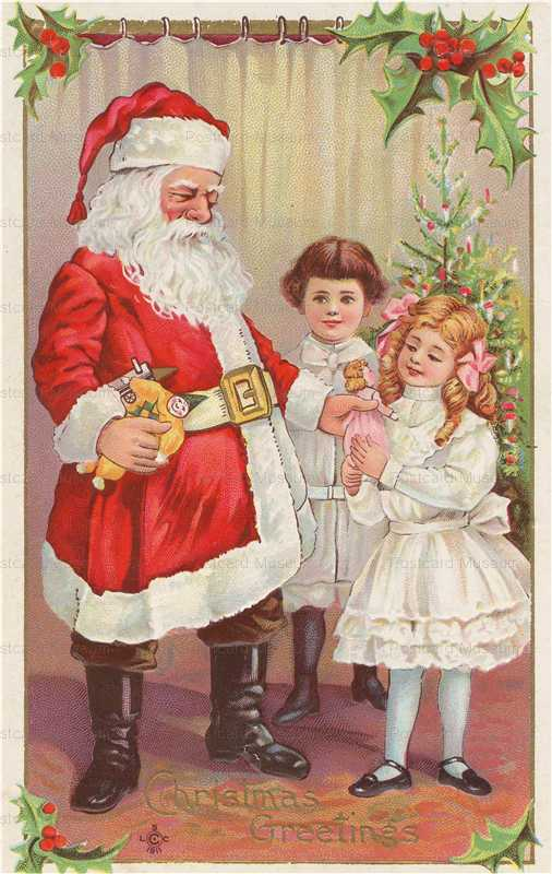 xm504-Santa Claus with Girls Doll