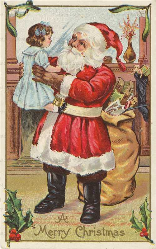 xm506-Santa Claus with Girls Doll