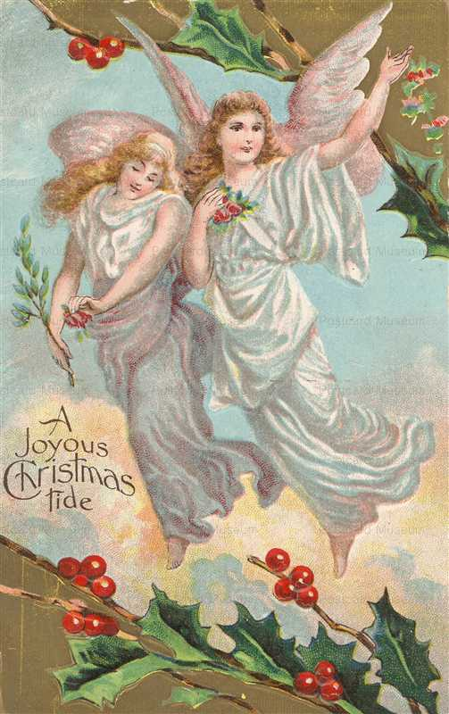 xm745-Christmas Angels Embossed Postcard