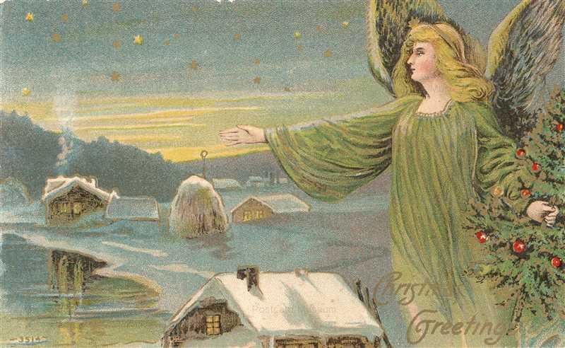 xm880-Beautiful Angel with Xmas Tree Starlit Village