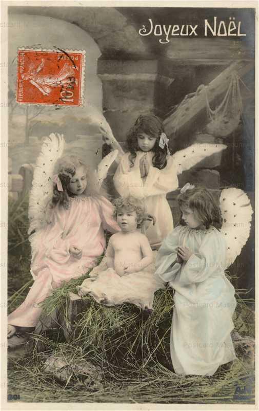 xm975-Vintage Christmas Angel Postcard Gold Guilded
