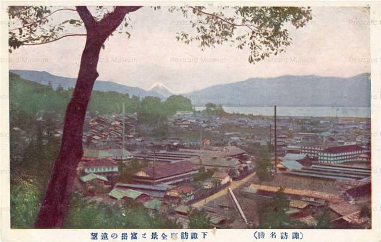 yt1273-View of Shimosuwa Fugaku Suwa Nagano 下諏訪町全景と富岳の遠望 諏訪 長野