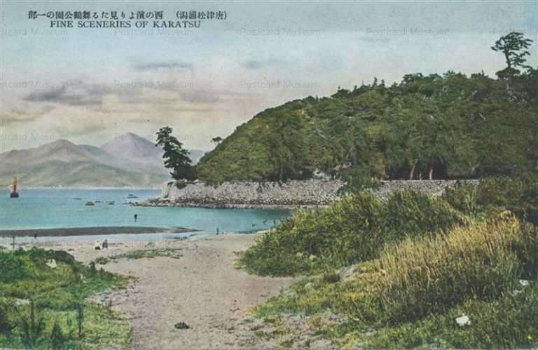 sag447-Karatsu 西の濱より見たる舞鶴公園の一部 唐津松浦潟