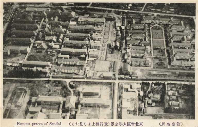 se1190-Tohokuteikokudaigaku 東北帝国大学全景 飛行機より見たる仙台
