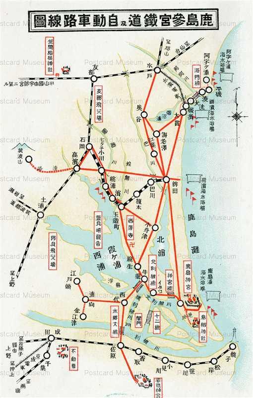 ll1500-Route map Kashima Ibaraki 鹿島参宮鐵道と自動車路線圖 茨城