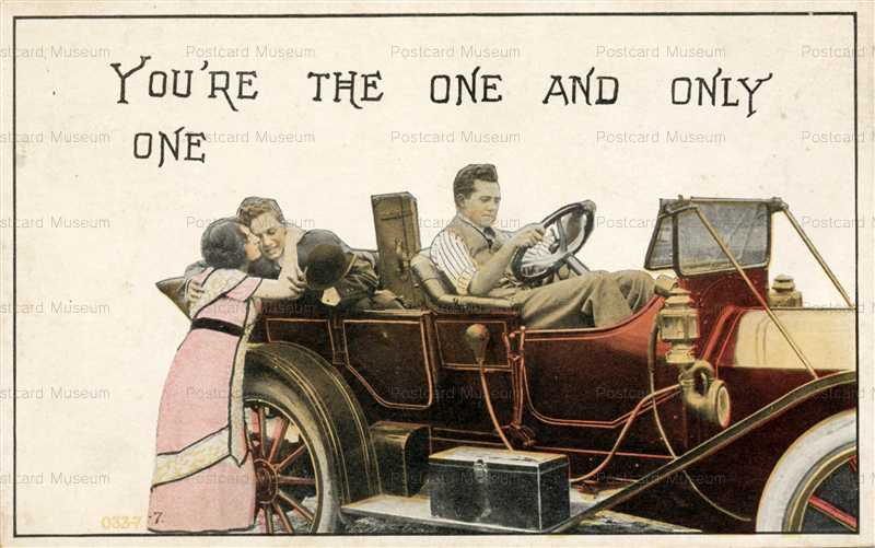 car140-Chauffeur Drives Couple in Early Car