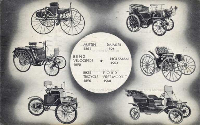 car170-Clockwise Austin Daimler Holsman Ford Model T Riker Tricycle Benz Velocipede
