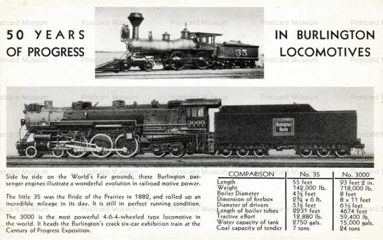 trm110-Burlington 50 Years Progress Railroad Train Chicago World Fair