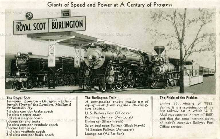 trm115-Giants of Speed Royal Scot Burlington Railroad Train Century of Progress