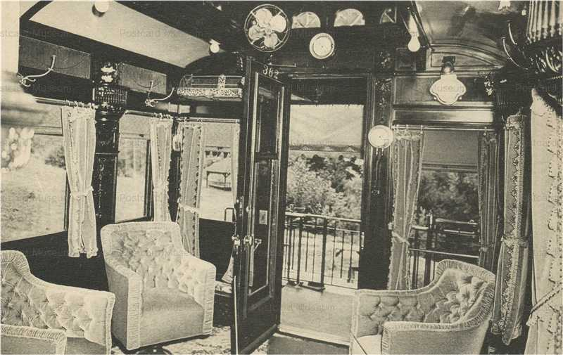 trm450-Corbin Belmont RR Train Car Lounge Interior Old PC
