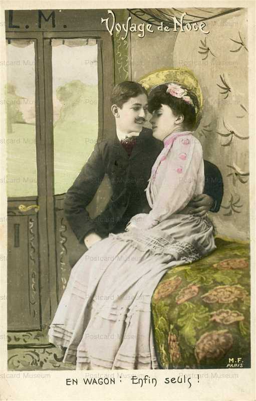 trm630-French Fantasy PC-Couple in Railroad Car