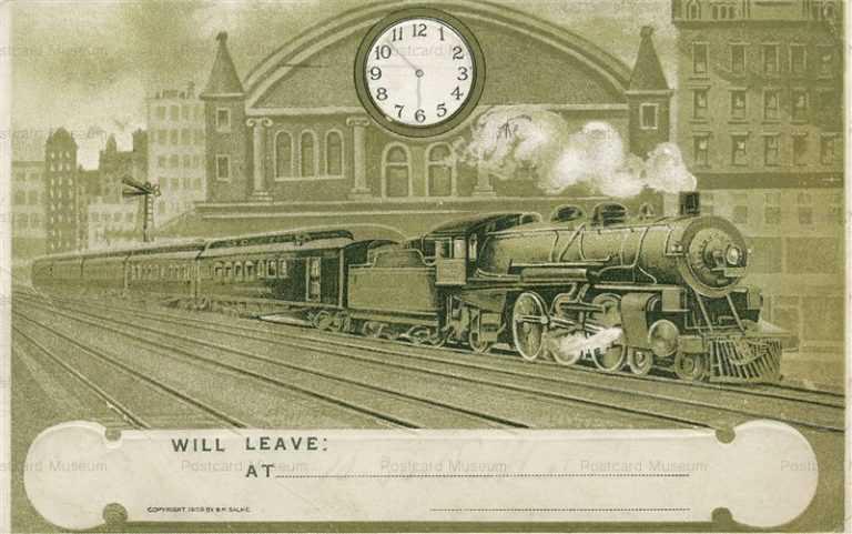 trm710-Train Engine Tracks Railroad Old Greeting