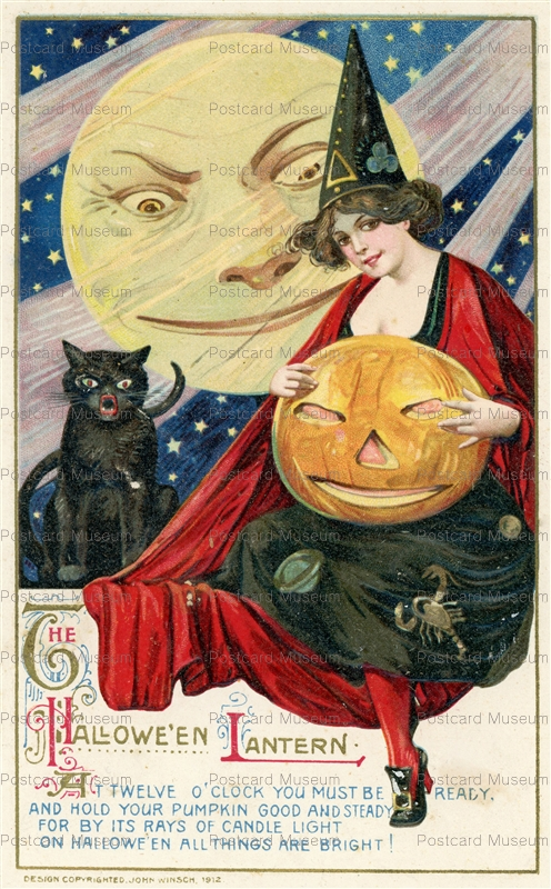 chr010-Winsch Schmucker Halloween Lantern Twelve O'clock Witch Black Cat Moon JOL 1910