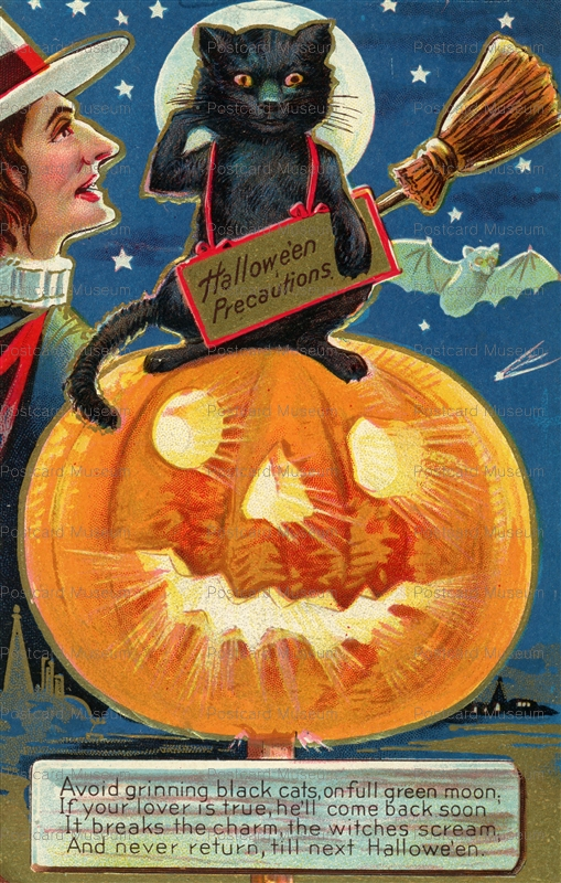 chr130-Halloween Tradition Avoid Grinning Black Cats 1910s