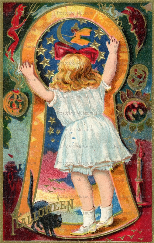 chr160-Halloween Postcard Little Girl & Black Cat Looking Through Keyhole~107733