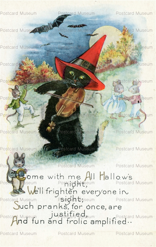 chr240-Halloween Whitney BLack Cat Violin Dancing Mice Bats Moon