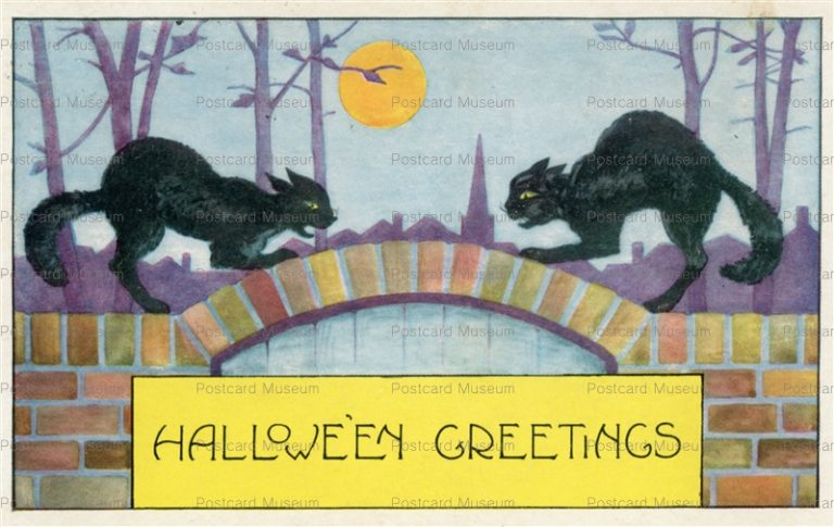 chr320-Whitney Halloween Full Moon Fighting Black Cats