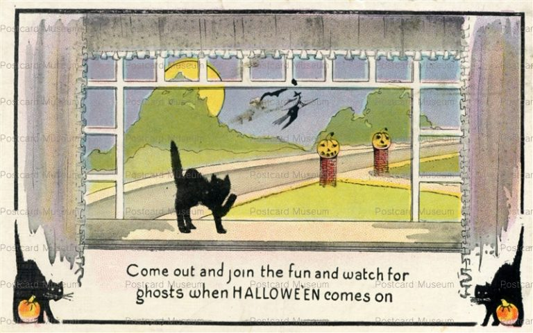 chr335-Halloween Black Cat Series 412 c1910