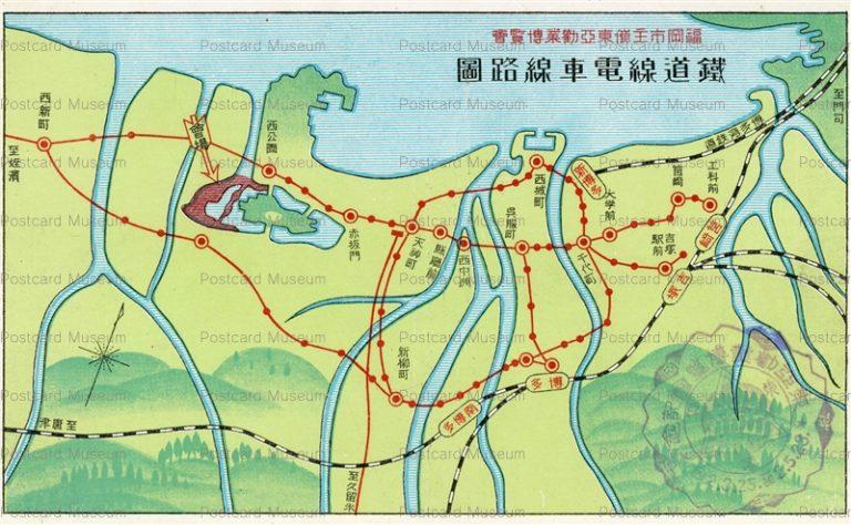 fuw494-Fukuoka Map 鉄道線電車路線図 福岡市主催東亜勧業博覧会