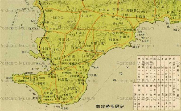 lb660-Awa Map Chiba 安房名勝地図 千葉