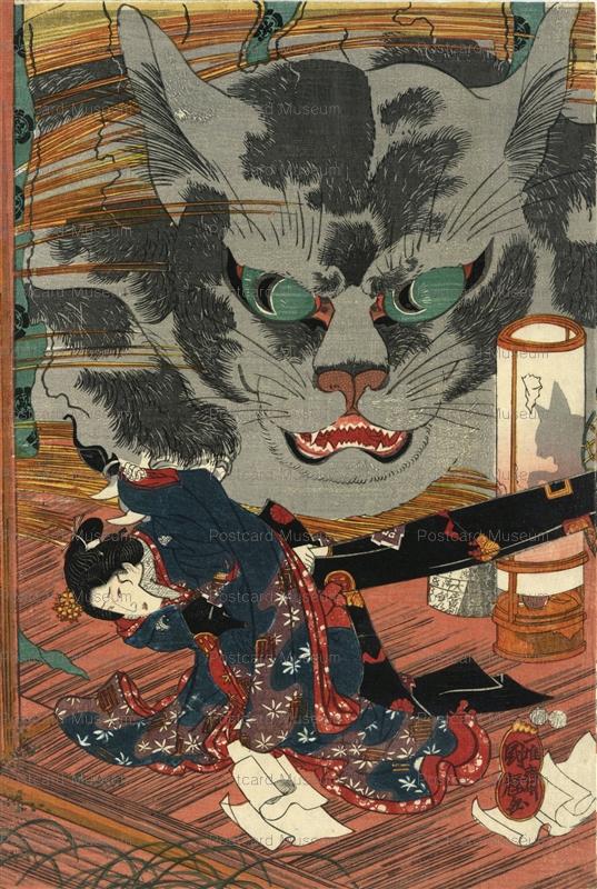 uzo132-歌川国輝 東海道岡部宿猫石由来之図 猫行燈