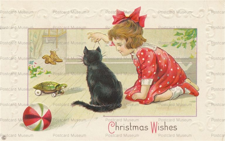 xm117-Girl Play with Cat Christmas Wishes