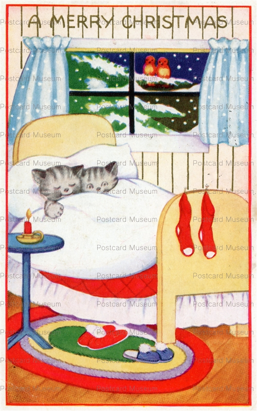 xm265-Kitty Cats Asleep in Bed Stockings Hung Christmasc1915