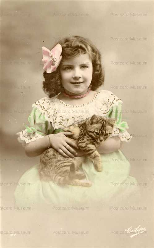 ac017-Cute Edwardian Girl with Tabby Cat