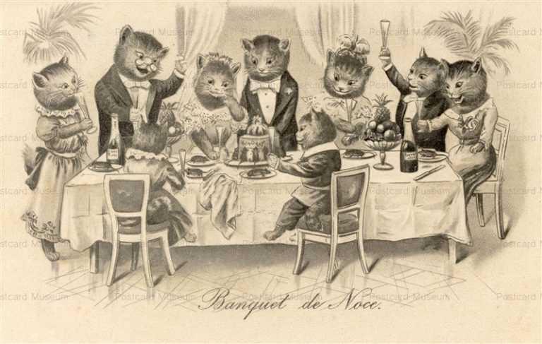 acb020-Dressed Cats Bride Wedding Marriage Banquet de Noce