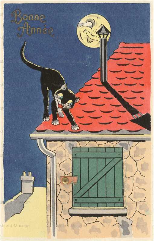 acc043-Black Cat Mechanical Love Kiss Bonne Annee La Maison du Mystere Serie