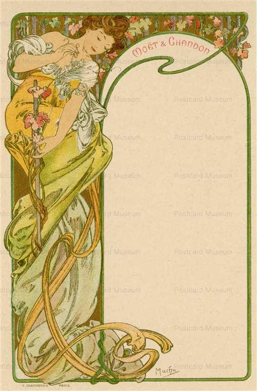 am017-Moet & Chandon menu 1900 Alphons Mucha