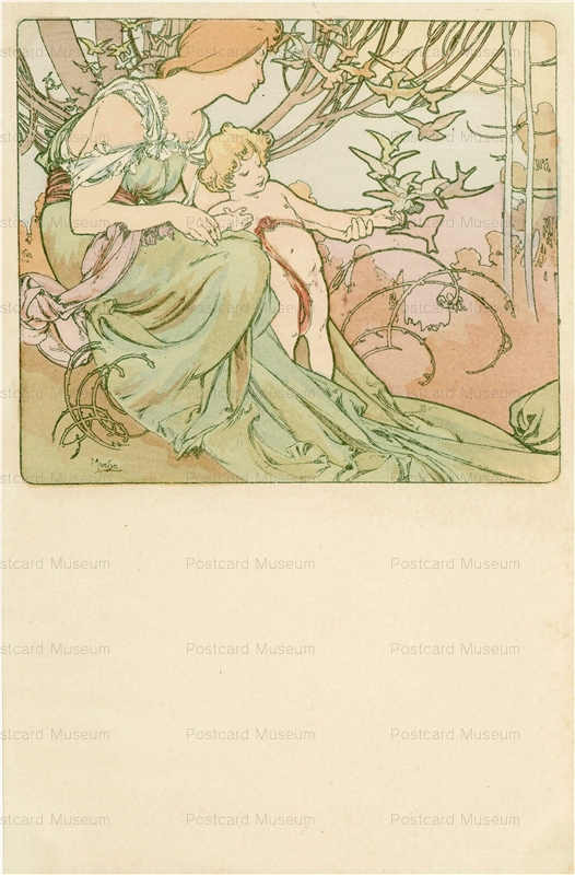 am028-Four Ages of Man.Childhood 1900 Alphons Mucha